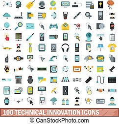 100 technical innovation icons set, flat style