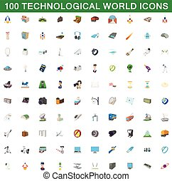 100 technological world icons set, cartoon style