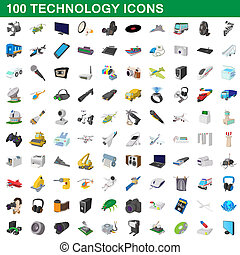 100 technology set, cartoon style