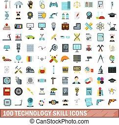 100 technology skill icons set, flat style