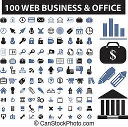 100, teia, negócio, sinais