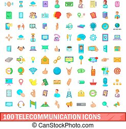 100 telecommunication icons set, cartoon style