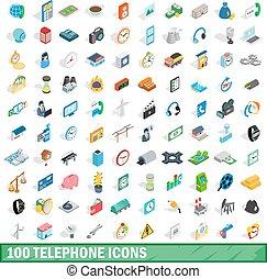 100 telephone icons set, isometric 3d style