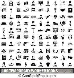 100 temporary worker icons set, simple style - 100 temporary...