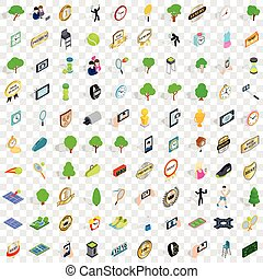 100 tennis icons set, isometric 3d style