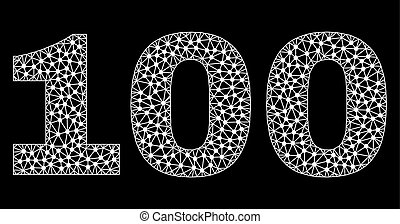 100 Text in Polygonal Mesh Style