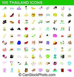 100 thailand icons set, cartoon style