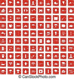 100 thunderstorm icons set grunge red
