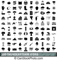 100 thunderstorm icons set, simple style