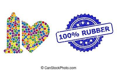 100%, timbre, sûr, gratté, caoutchouc, collage, amour, coloré