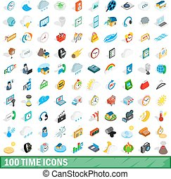 100 time icons set, isometric 3d style