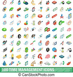 100 time management icons set, isometric 3d style