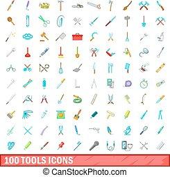 100 tools icons set, cartoon style