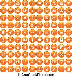 100 tools icons set orange