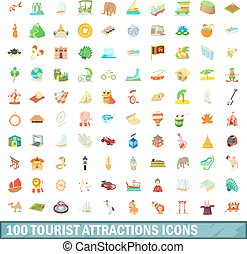 100 tourist attraction icons set, cartoon style - 100...