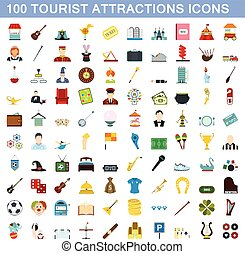 100 tourist attraction icons set, flat style - 100 tourist...