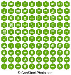 100 tourist attractions icons hexagon green - 100 tourist...