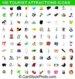 100 tourist attractions icons set, cartoon style
