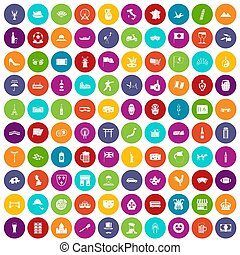 100 tourist attractions icons set color - 100 tourist...