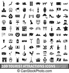 100 tourist attractions icons set, simple style - 100...