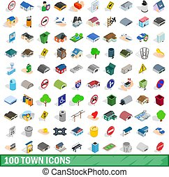 100 town icons set, isometric 3d style