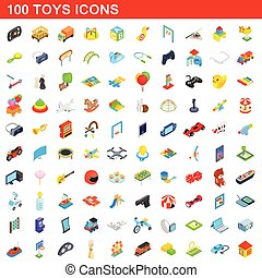 100 toys icons set, isometric 3d style