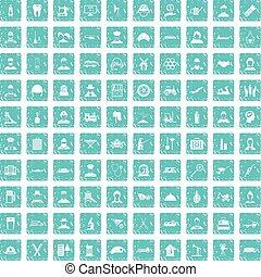 100, trabalho, ícones, jogo, grunge, azul