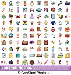 100 trading icons set, cartoon style