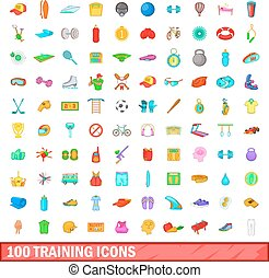 100 training icons set, cartoon style