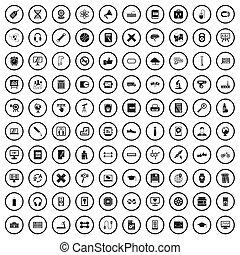 100 training icons set, simple style