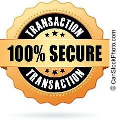 100, transakce, bezpečný, ikona