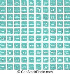 100, transport, iconerne, sæt, grunge, blå