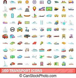 100 transport icons set, cartoon style