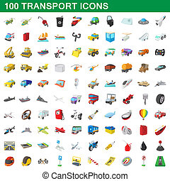 100 transport icons set, cartoon style - 100 transport icons...