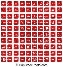 100 transport icons set grunge red