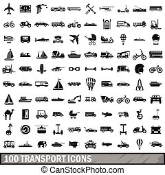 100 transport icons set, simple style