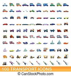 100, transport, style, ensemble, dessin animé, icônes