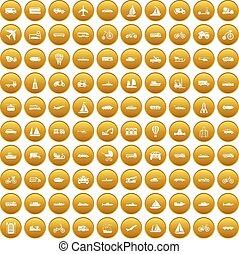 100 transportation icons set gold