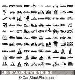 100 transportation icons set in simple style