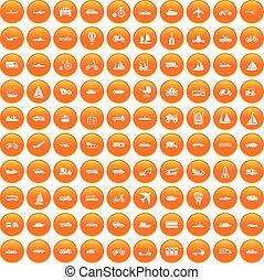 100 transportation icons set orange