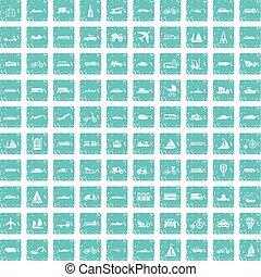100, transporte, iconos, conjunto, grunge, azul