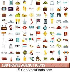100 travel agency icons set, flat style
