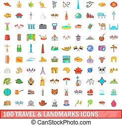 100 travel and landmarks icons set, cartoon style