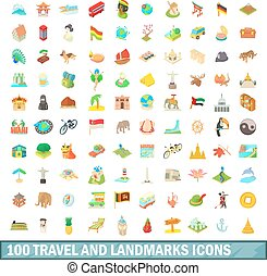 100 travel and landmarks icons set, cartoon style