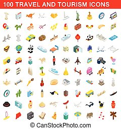 100 travel and tourism icons set, isometric style