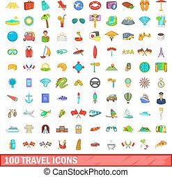 100 travel icons set, cartoon style