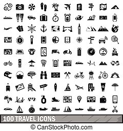 100 travel icons set in simple style