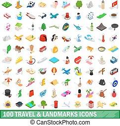 100 travel landmarks icons set, isometric 3d style