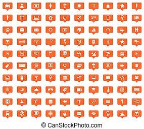 100 Travel orange message icons set