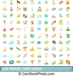 100 travel time icons set, cartoon style